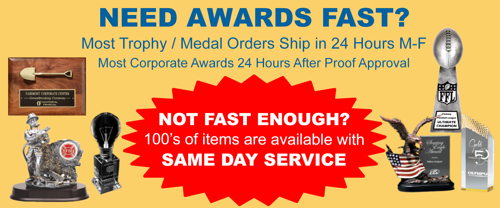 Same Day Trophies, Order Fast Awards, Custom Plaques & Gifts