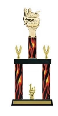 2 Column Flame<BR> Chili Pot Trophy<BR> 18 to 23 Inches