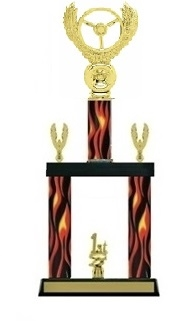 2 Column Flame<BR> Winged Wheel Trophy<BR> 19 to 23 Inches