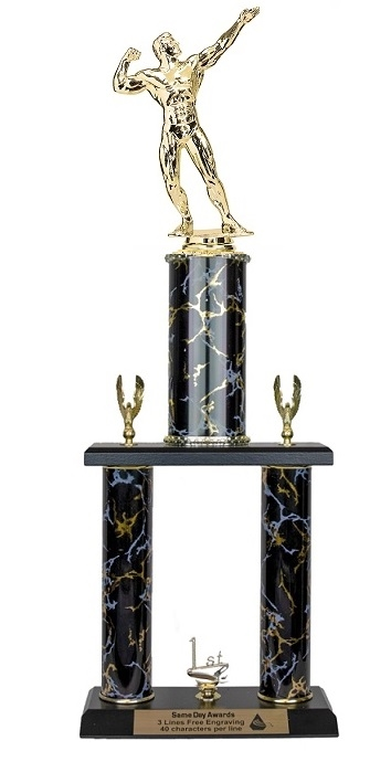2 Post <BR>M Bodybuilding Trophy<BR> 18-20 Inches<BR> 10 Colors