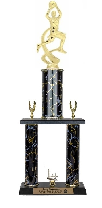 2 Post <BR>F Motion Basketball Trophy<BR> 18-20 Inches<BR> 10 Colors