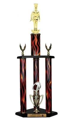 3 Column Flame Trophy<BR> Chef<BR> 26 to 32 Inches