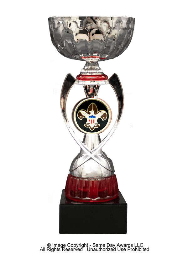 Silver & Red Boy Scout<BR> Metal Trophy Cup<BR> 12 to 13.5 Inches