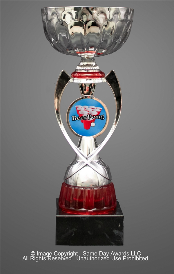 Silver & Red Beer Pong<BR> Metal Trophy Cup<BR> 12 to 13.5 Inches