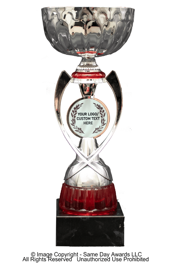 Silver & Red Custom Insert<BR> Metal Trophy Cup<BR> 12 to 13.5 Inches