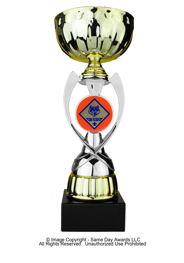Silver & Gold Cub Scouts<BR> Metal Trophy Cup<BR> 12 to 13.5 Inches