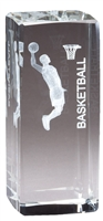 Jr. Collegiate<BR> Male Basketball<BR> Crystal Trophy<BR> 4.5 Inches