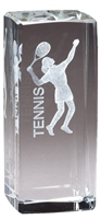 Jr. Collegiate<BR> Female Tennis<BR> Crystal Trophy<BR> 4.5 Inches
