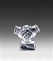 Handshake<BR> Crystal Trophy<BR> 4.75 Inches