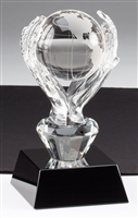 Ebony Globe & Hands<BR> Crystal Trophy<BR> 6 Inches