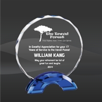 Premium Blue Circle<BR> Crystal Trophy<BR> 6.75 to 8.5 Inches