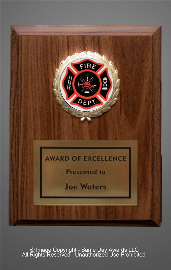 Walnut Plaque<BR> Fire Dept.<BR> 5x7 to 7x9 Inches