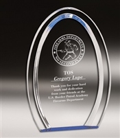 Oval Halo<BR> Blue Acrylic Trophy <BR> 7 & 8 Inches