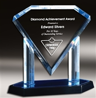 Presidential Diamond<BR> Blue Acrylic Trophy<BR> 10 to 12 Inches