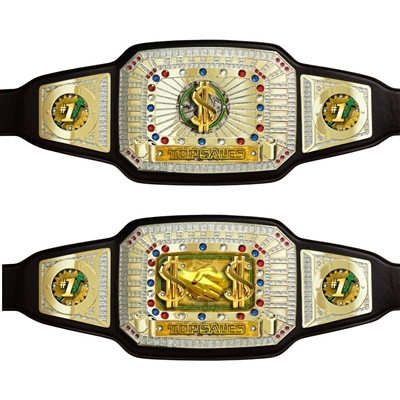 Custom Sales Black <BR> Championship Belts<BR> 52 Inches