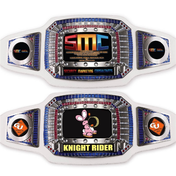 Custom White<BR> Championship Belts<BR> 52 Inches