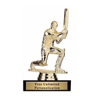Kneeling Cricket Batsman<BR> Gold Trophy<BR> 5.75 Inches