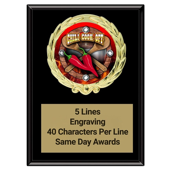 Magic Chili Cook Off Plaque<BR> Stock or Custom Logo <BR> 3 Sizes