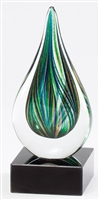 Green Drop<BR> Art Glass Trophy<BR> 7 Inches