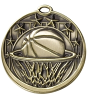 8 Star Basketball Medal<BR> Gold/Silver/Bronze<BR> 2 Inches