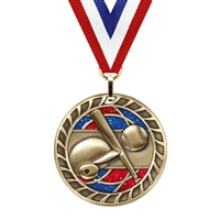 Glitter Baseball Medal<BR> Gold/Silver/Bronze<BR> 2.5 Inches