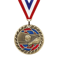Glitter Volleyball Medal<BR> Gold/Silver/Bronze<BR> 2.5 Inches