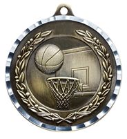 Diamond Cut<BR> Basketball Medal<BR> Gold/Silver/Bronze<BR> 2 Inches