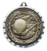 Diamond Cut<BR> Golf Medal<BR> Gold/Silver/Bronze<BR> 2 Inches