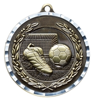 Diamond Cut<BR> Soccer Medal<BR> Gold/Silver/Bronze<BR> 2 Inches