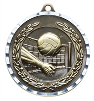Diamond Cut<BR> Volleyball Medal<BR> Gold/Silver/Bronze<BR> 2 Inches