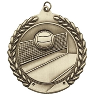 Budget Die Cast<BR> Volleyball Medal<BR> Gold/Silver/Bronze<BR> 1.75 Inch