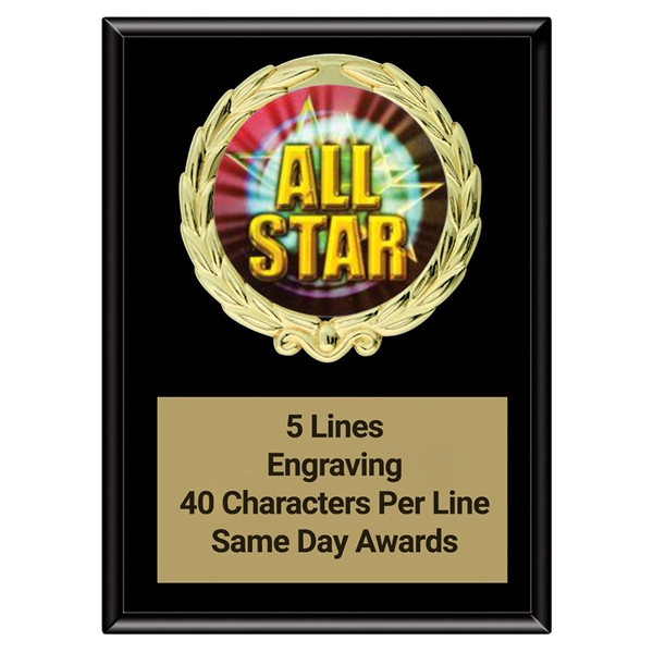 Magic All-Star Plaque<BR> Stock or Custom Logo <BR> 3 Sizes