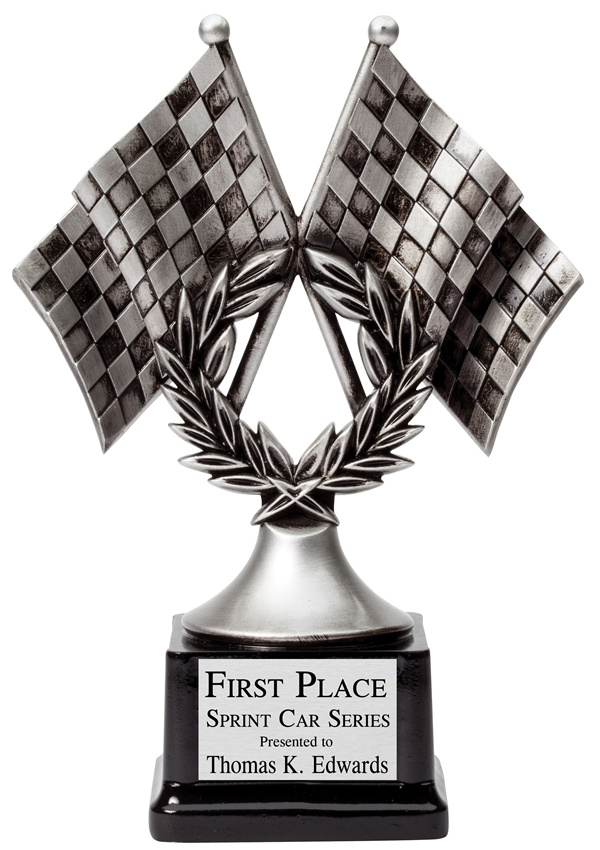 Premium Silver<BR> Cross Checkered Flag Trophy<BR> 10.25 Inches
