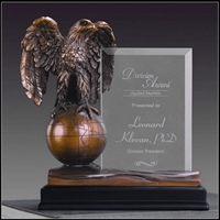 """THE BURTON""<BR> Eagle Trophy w/ Glass<BR> 10 Inches"