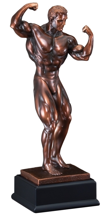 Bronze Gallery<BR> Male Bodybuilder Trophy<BR> 11 to 21.5 Inches