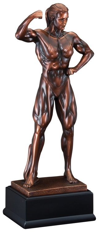 Bronze Gallery<BR> Female Bodybuilder Trophy<BR> 11 to 19 Inches
