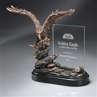 The Weingroff<BR>Best In The World<BR> Flying Bronze Eagle Trophy w/ Glass<BR> 10 Inches