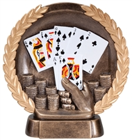 Resin High Relief<BR> Poker Trophy<BR> 7.5 Inches