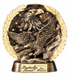Resin High Relief<BR> Eagle Trophy<BR> 7.5 Inches