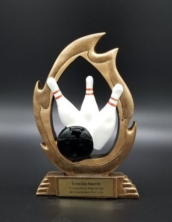 Flame<BR> Bowling Trophy<BR> 7.25 Inches