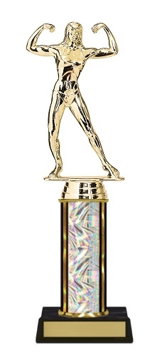 Single Column<BR> F Bodybuilding Trophy<BR> 10-12 Inches<BR> 10 Colors