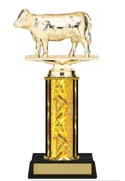 Single Column<BR> Hereford Cow Trophy<BR> 10-12 Inches<BR> 10 Colors