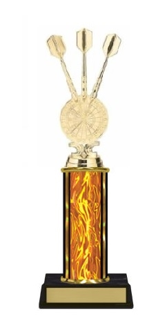 Single Column<BR> Dart Triple Trophy<BR> 10-12 Inches<BR> 10 Colors