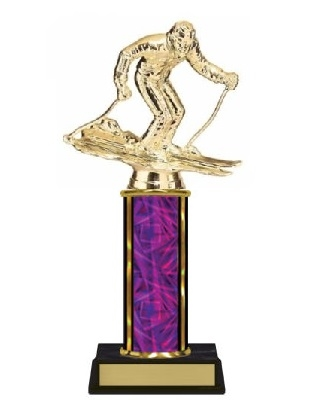 Single Column<BR> M Ski Trophy<BR> 10-12 Inches<BR> 10 Colors