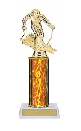 Single Column<BR> F Ski Trophy<BR> 10-12 Inches<BR> 10 Colors