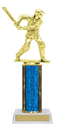 Single Column<BR> Cricket Batsman Trophy<BR> 10-12 Inches<BR> 10 Colors