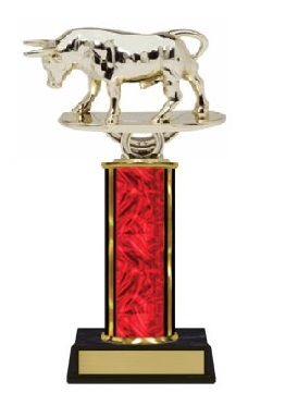 Single Column<BR> Raging Bull Trophy<BR> 10-12 Inches<BR> 10 Colors