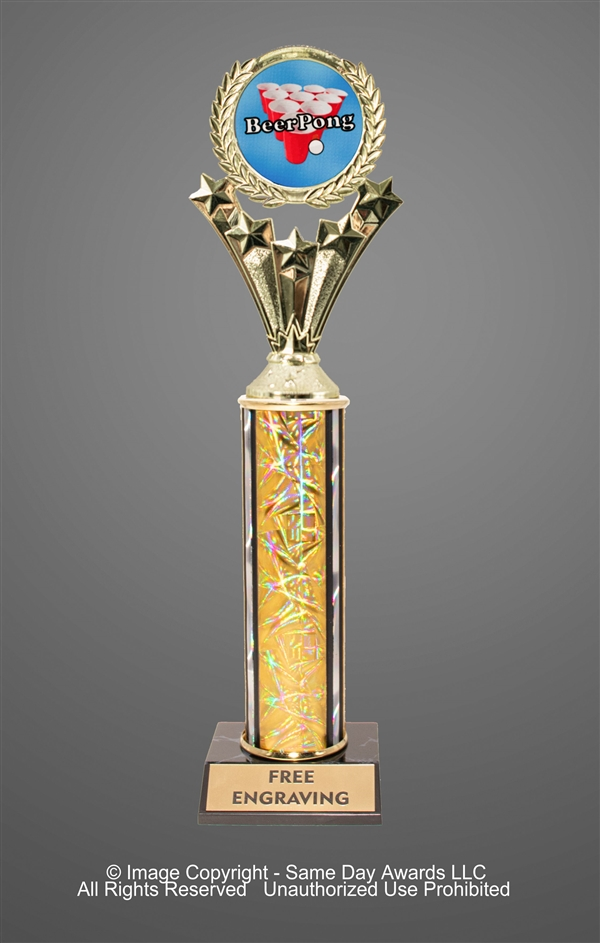 Single Column<BR> Beer Pong Trophy<BR> 10-12 Inches<BR> 10 Colors