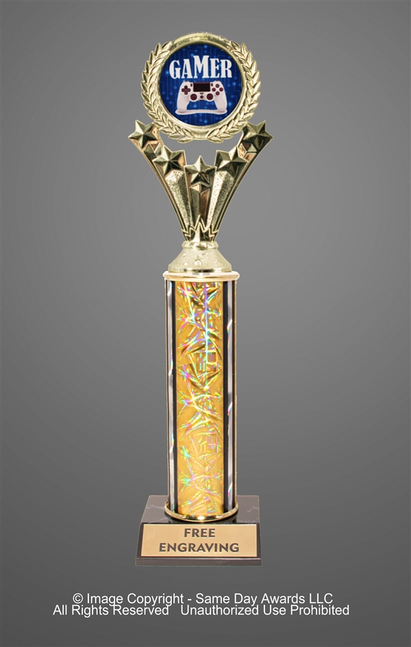 Single Column<BR> Gamer Trophy<BR> 10-12 Inches<BR> 10 Colors