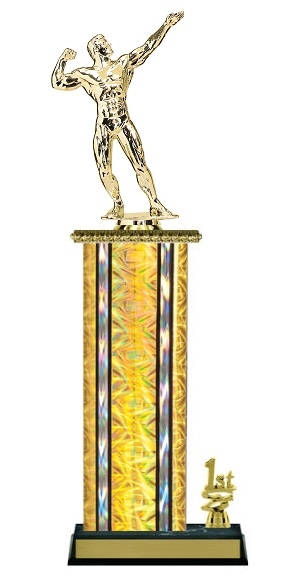 Wide Column with Trim<BR> M Bodybuilding Trophy<BR> 12-14 Inches<BR> 10 Colors